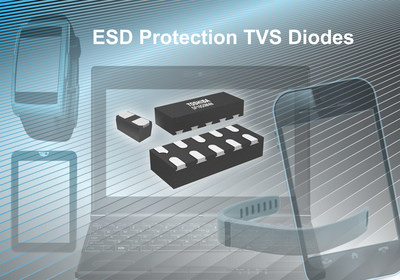 Toshiba's new ESD protection diodes shield mobile devices from electrostatic discharge and noise and are designed for use in smartphones, tablets, laptop PCs, and wearable devices.