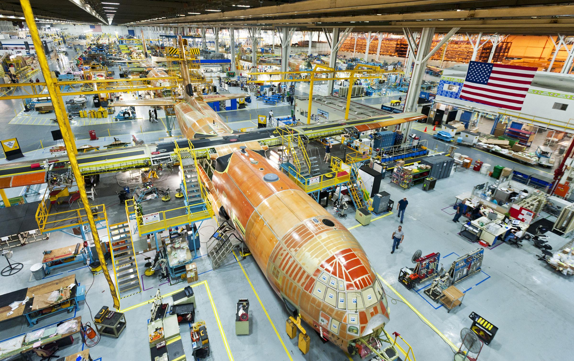 Lockheed Martin's C-130 Super Hercules production line in Marietta, Georgia. (PRNewsfoto/Lockheed Martin Aeronautics)