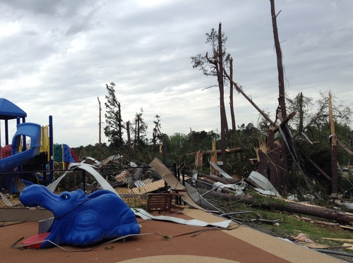The Small Miracles Preschool and Mother's Day Out Center at St. Luke's Methodist Church sustained significant damage after a tornado ripped through Tulpelo, Miss. on April 28. Photo by Sarita Fritzler for Save the Children. (PRNewsFoto/Save the Children)
