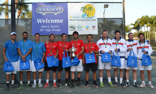 Boca Grove hosted the 2014 ITF Seniors World Championships Italia Cup (M35 teams). Spain is the 2014 champion. France took second place and Great Britain third place.   (PRNewsFoto/Boca Grove Golf and Tennis Club)