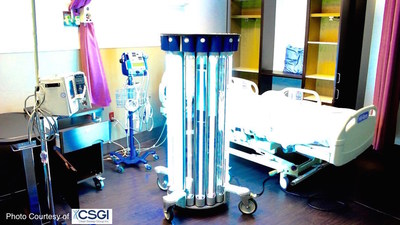 "The world's most powerful UV-C emitter at work killing harmful bacteria, viruses and spores in a patient's hospital room.  CSGI's service uses this technology and their proprietary risk management software to make any room 99.9999% ""germ free"" for the next patient occupant."