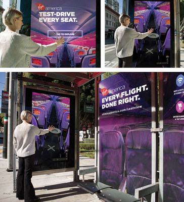 "A bus shelter in San Francisco featuring the new Virgin America Google ""Seat View"" advertising campaign"