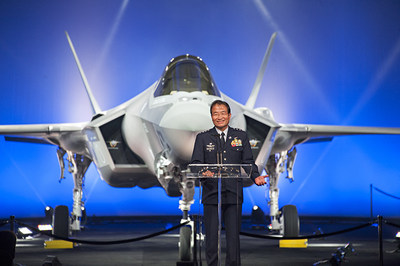 Gen. Yoshiyuki Sugiyama, Japan Air Self Defense Force Chief of Air Staff, addresses the ceremony audience as Japan's first F-35A aircraft is revealed at the Lockheed Martin's production facility in Fort Worth, Texas, Sept. 23. Lockheed Martin photo by Beth Steel