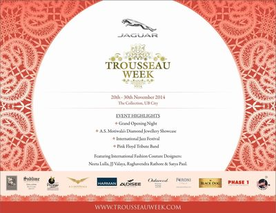 UB City presents Jaguar Trousseau Week, a Couture Wedding Festival in Bangalore, from 20-30 Nov '14!