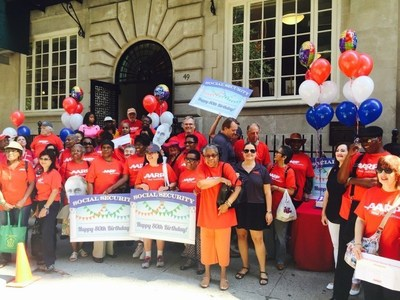 AARP NY volunteers and leaders celebrate Social Security's 80th birthday on August 14, 2015 in front of Roosevelt House in Manhattan.