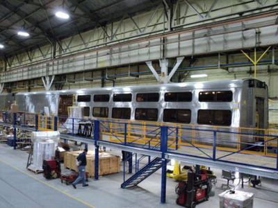 Amtrak expects delivery in 2013 of the first units of new equipment orders for 130 single-level long-distance passenger cars, including sleepers, diners, baggage cars and baggage/dormitory cars. Pictured here is a diner car being built by CAF USA at a facility in Elmira, N.Y.   (PRNewsFoto/Amtrak)