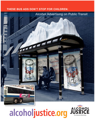 Youth Still Harassed by Alcohol Ads On America's Public Transit- New Alcohol Justice Study Shows Slow Progress on Alcohol Advertising Bans on Buses, Trains & Public Property.  (PRNewsFoto/Alcohol Justice)