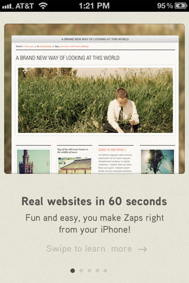 Image Create social websites from your iPhone in 60 seconds with Zapd