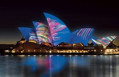 Sydney Opera House Lighting The Sails artist impression by Universal Everything, for Vivid Sydney 2015