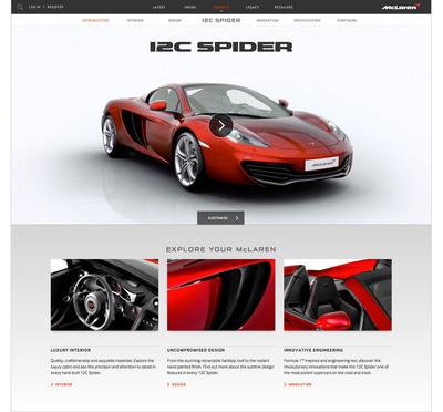 McLaren Automotive launches a new website: cars.mclaren.com.  (PRNewsFoto/McLaren Automotive)