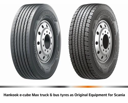Hankook e-cube MAX truck & bus tyres as Original Equipment for Scania. (PRNewsFoto/Hankook Tire Europe GmbH)