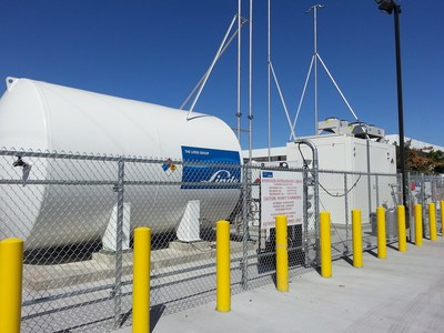 Linde tank supplying hydrogen to the Linde station at the Ramos Oil Company multi-fuel station in West Sacramento, California. (PRNewsFoto/Linde North America)