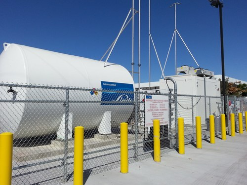 Linde tank supplying hydrogen to the Linde station at the Ramos Oil Company multi-fuel station in West ...