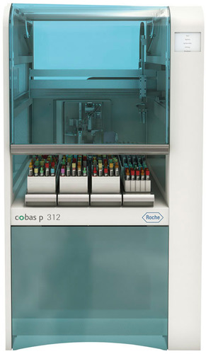 Roche introduces cobas p 312 pre-analytical system as compact, front-end automation solution for sample management in US and Canada.  (PRNewsFoto/Roche Diagnostics)