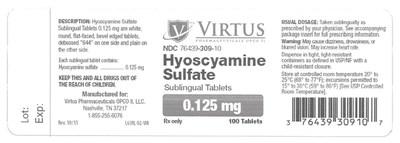 Hyoscyamine Sulfate Sublingual tablets, NDC 76439-309-10: