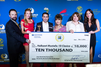"""The """"He Can Do, She Can Do, Why Not Me"""" Humanitarian Award was presented to El Clasico, directed by Halkawt Mustafa (Iraq) by Dr. Tae Yun Kim, president of the AWFF Advisory Board and CEO of Lighthouse Worldwide Solutions. The film delivers a powerful message of courage, hope, healing and determination. Dr. Kim presented the award along with a $10,000 cash prize."""