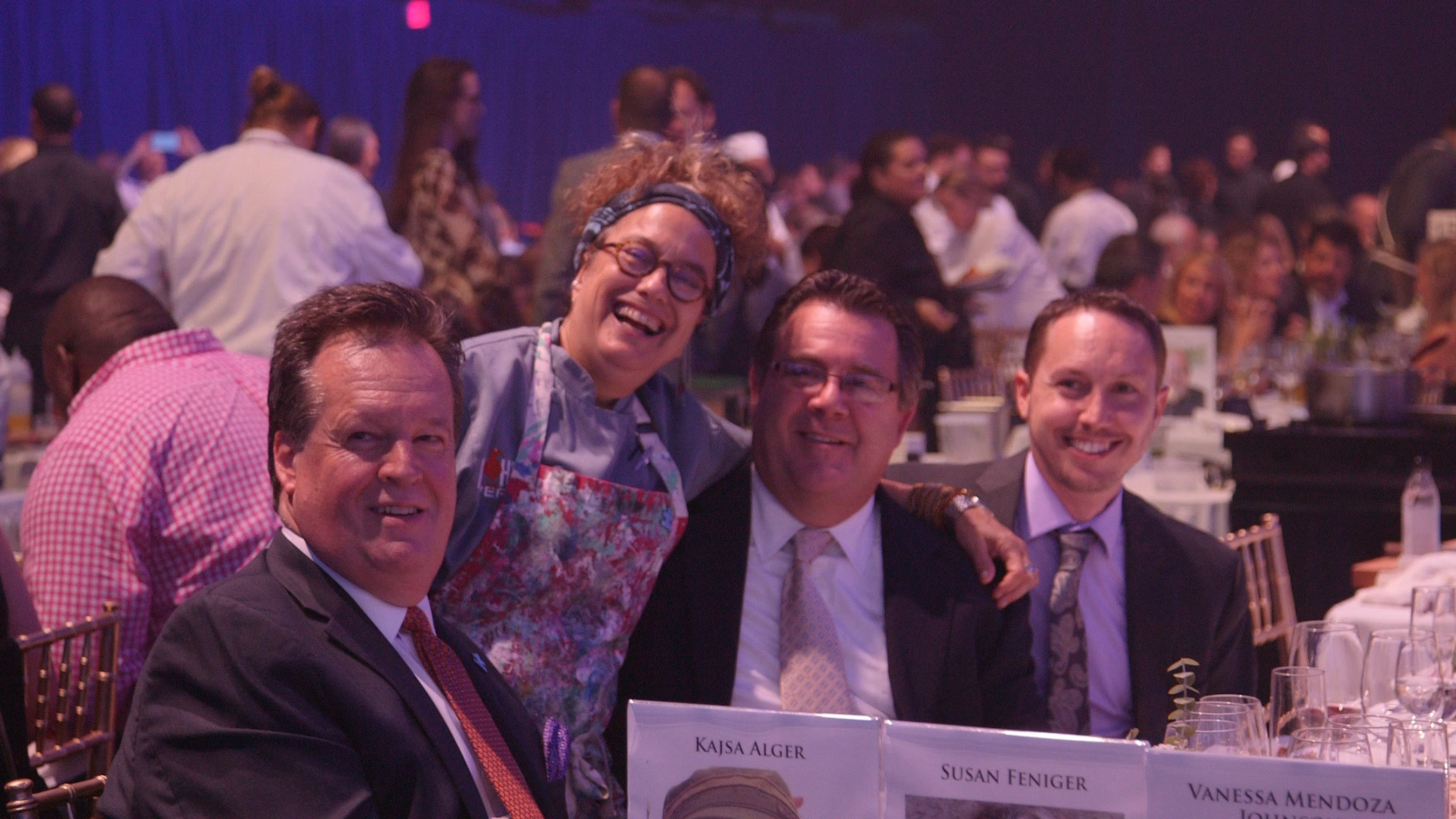 Participating sponsors like the Jenn-Air brand helped raise 1.25 million for Autism Speaks at a recent chef gala held in Los Angeles last week.  Pictured at the Jenn-Air table from left to right:  Brian Maynard, Marketing Director for Jenn-Air; Chef Susan Feniger, owner of Mud Hen Tavern and co/owner of the Border Grill.; Al Allard and Eric Joachim, Ferguson.