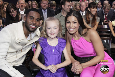 Pop star sweethearts Jordin Sparks and Jason Derulo took their support behind-the-scenes at the 2014 MDA Show of Strength Telethon to meet with children affected by muscle disease.
