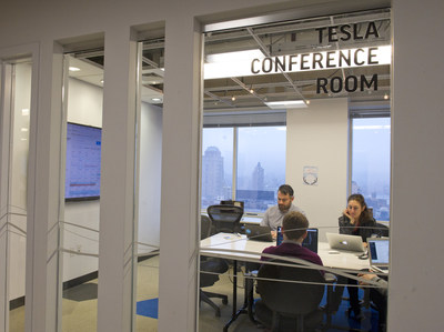 The NECE named ACRE, New York City's hub for cleantech and part of the Future Labs at NYU Tandon, winner of the annual cleantech Startup Supporter of the Year. Pictured is one of the conference rooms at the Urban Future Lab in Downtown Brooklyn, which commemorate icons of engineering like Nikola Tesla.