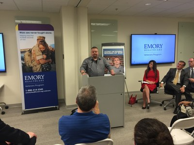 Matt Barnes speaks at a Warrior Care Network news conference with Wounded Warrior Project and Emory Healthcare's Veterans Program recently.