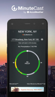AccuWeather MinuteCast provides patented minute-by-minute, highly localized weather forecasts to keep event attendees informed on exactly when precipitation will start and stop at their precise street or GPS locations.  Now, deciding what to wear and safeguarding your style is easier than ever in all kinds of weather with this innovative new pinpointed forecast.