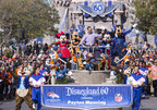 (February 8, 2016) In honor of the Denver Broncos' unforgettable victory in Super Bowl 50, the Disneyland Resort saluted quarterback Peyton Manning with a champion's parade down Main Street, U.S.A. at Disneyland Park in Anaheim, Calif., on Monday. Some favorite Disney characters joined the parade as Manning rode in a float with his children, Mosely and Marshall. (Paul Hiffmeyer/Disneyland Resort) (PRNewsFoto/Disneyland Resort)