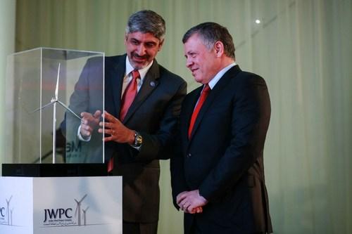 His Majesty King Abdullah II inaugurates the Tafila Wind Farm (seen with Samer Judeh Chairman of Jordan Wind ...