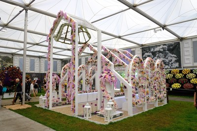 "Interflora, international division of premier floral and gifting company FTD(R), won a gold medal at the RHS Chelsea Flower Show 2016 for this stunning floral exhibit called ""Open Church"". The 16-foot floral installation reflects the elegant architecture of a church's exterior and interior."