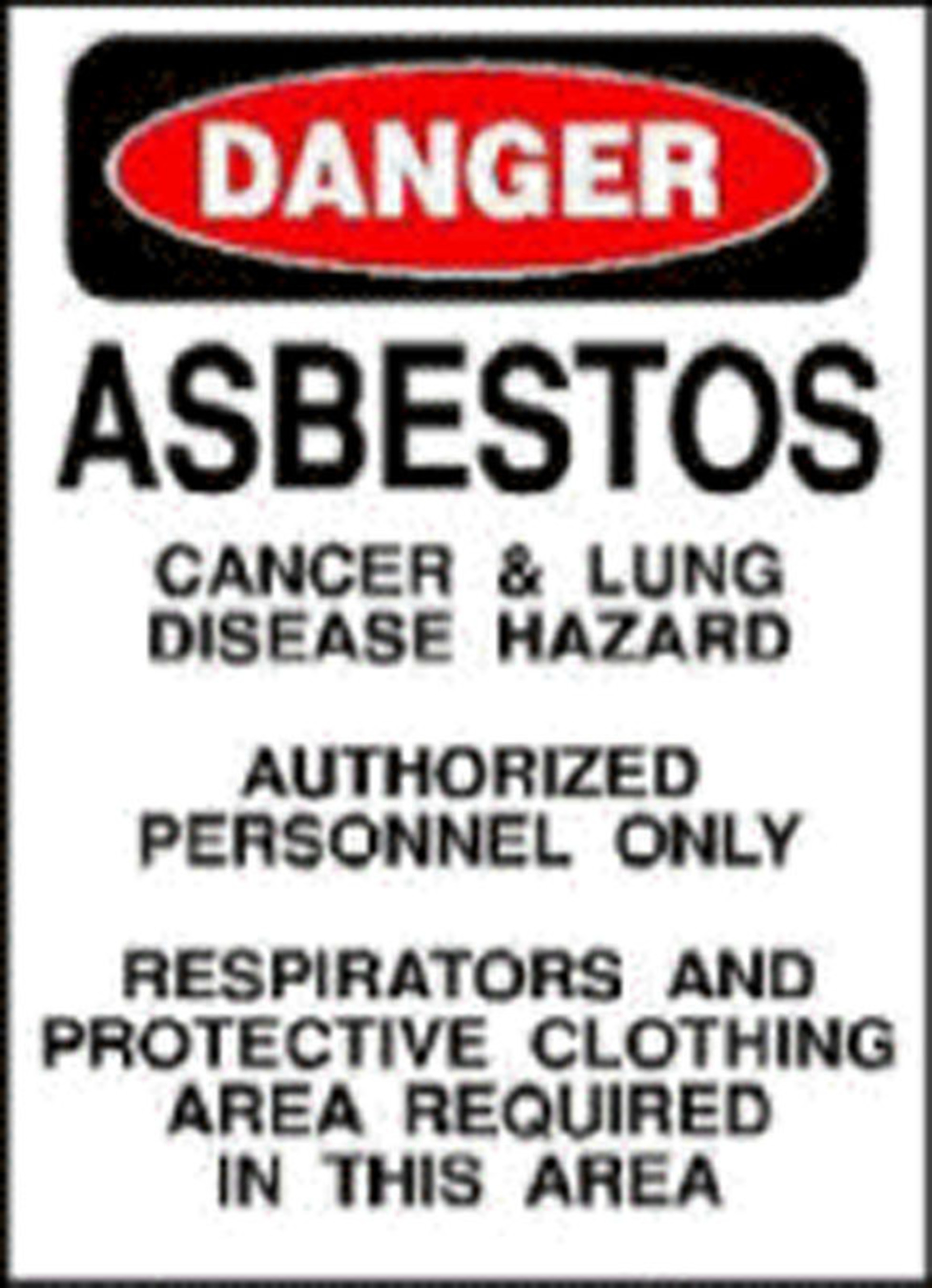 Asbestos Warning Sign.(PRNewsFoto/Mesothelioma Victims Center)