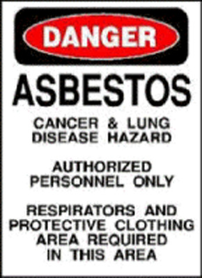 Asbestos Warning Sign.(PRNewsFoto/Mesothelioma Victims Center)