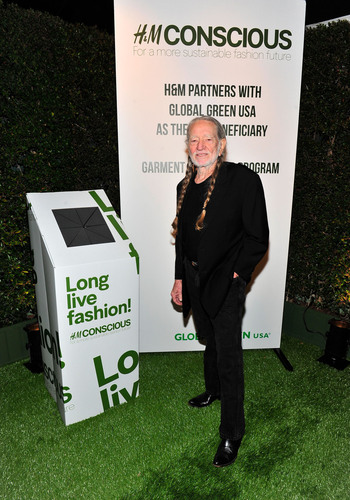 Willie Nelson celebrates the launch of H&M's garment recycling program at Global Green USA's 10th annual Pre-Oscar Party.  (PRNewsFoto/H&M)