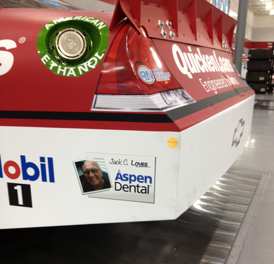 Jack Campbell, a patient of the Aspen Dental Manchester, NH practice, will have his photo featured on Ryan Newman's No. 39 Chevrolet at 3 upcoming NASCAR Sprint Cup Series races: Sept. 8 at the Federated Auto Parts 400 at Richmond International Raceway in VA; Sept. 16 at the GEICO 400 at Chicagoland Speedway in Joliet, IL; and Sept. 23 at the Sylvania 300 at New Hampshire Motor Speedway in Loudon, NH.  (PRNewsFoto/Aspen Dental)