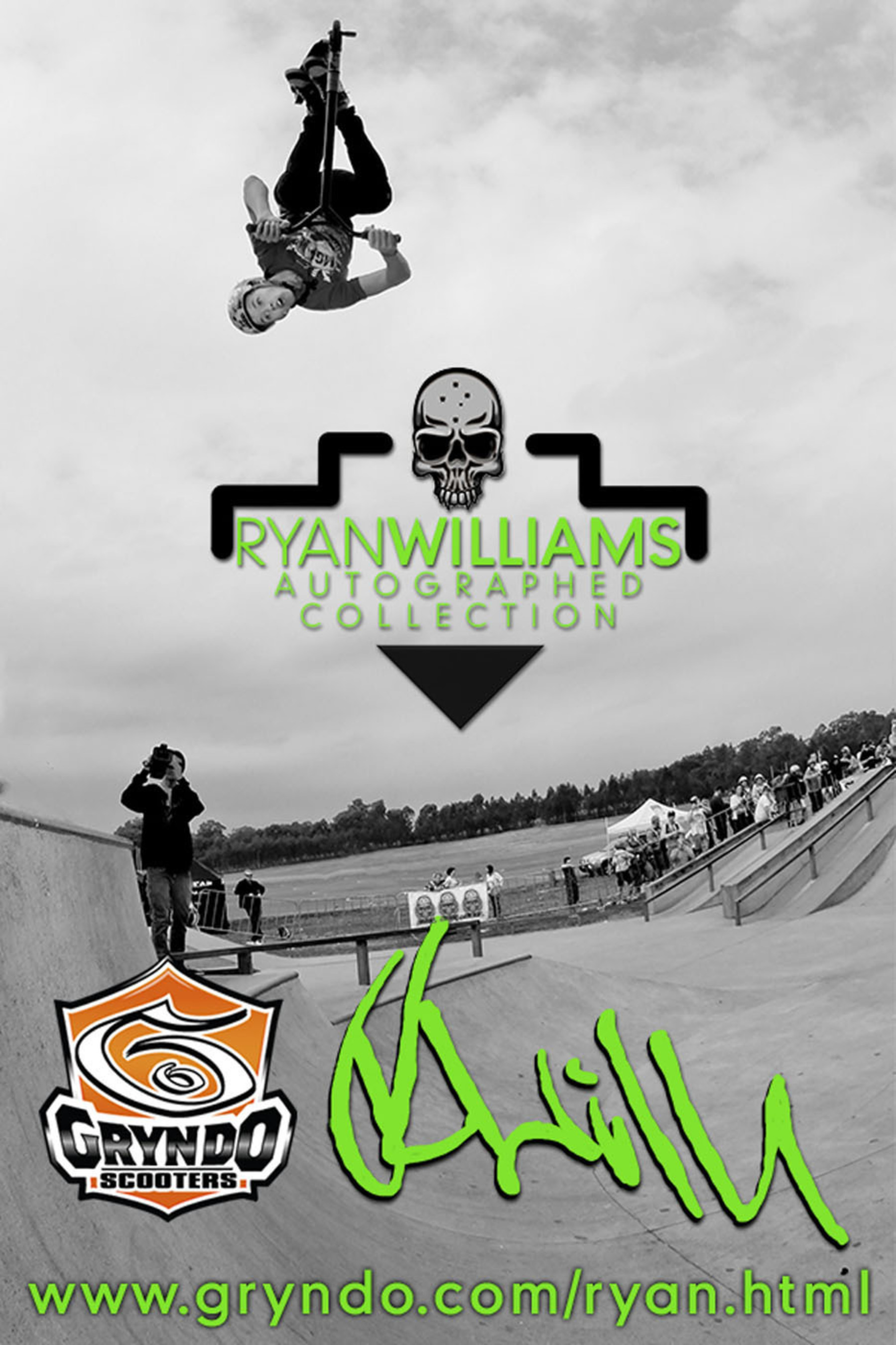 "Action sports hero Ryan Williams doing a ""flair"" on his MGP Signature Pro Scooter gear exclusively ..."