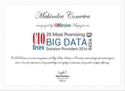 Certificate CIOReview Top 20 Big Data Players (PRNewsFoto/Mahindra Comviva)