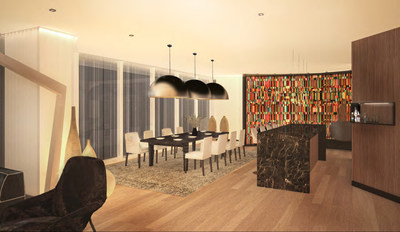 The Chairman Suite features a full-size dining room and bar with a wood wall accent and an abstract piece from a local artist.