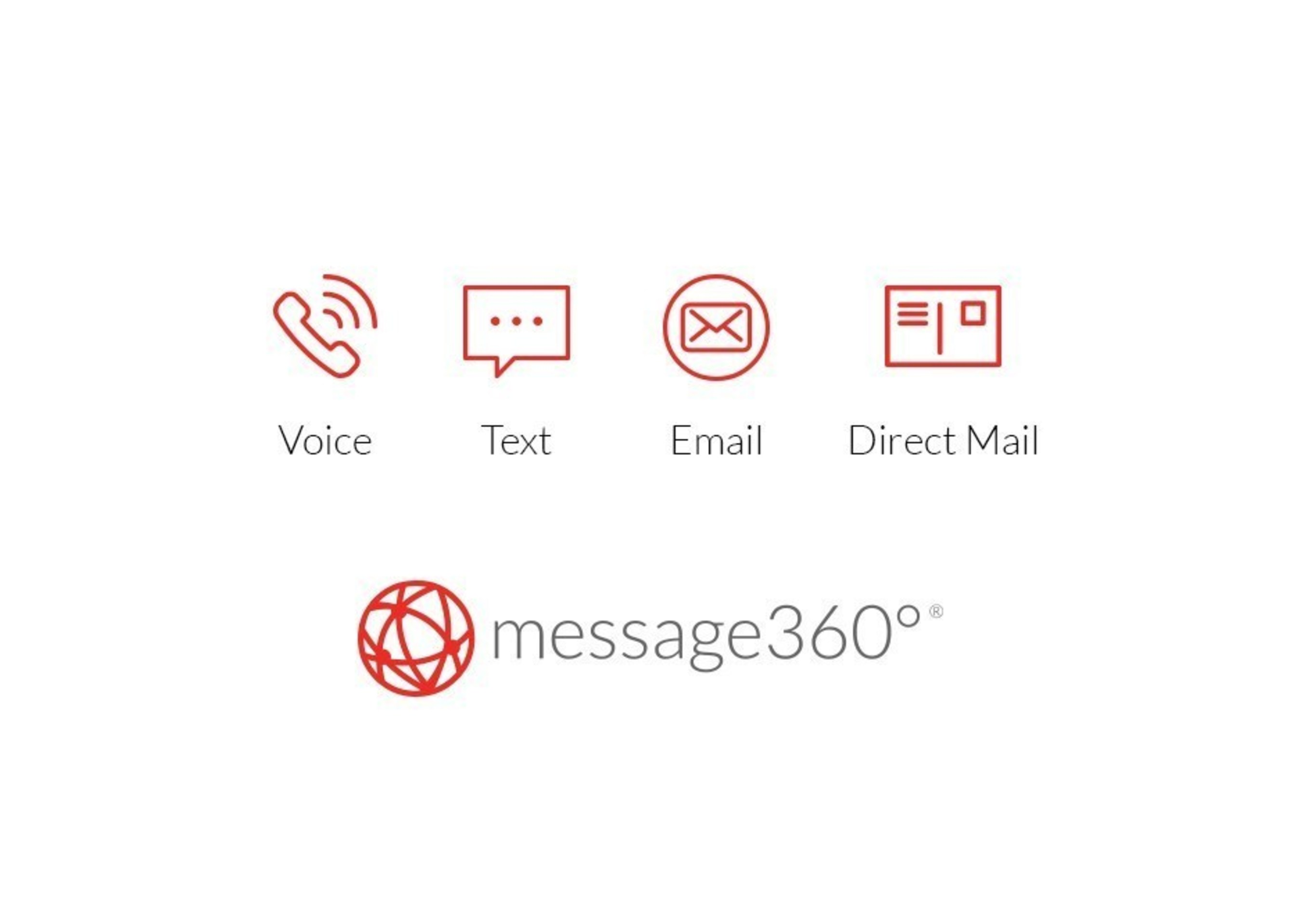message360° is a Cloud Communications platform, built for developers, that provides the infrastructure to programmatically communicate more efficiently. It's one API that integrates voice, text, email, and direct mail, with just a few lines of code.