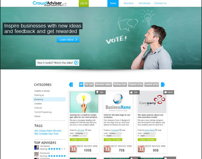 CrowdAdviser homepage screenshot. (PRNewsFoto/CrowdAdviser)
