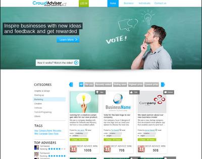 CrowdAdviser homepage screenshot. (PRNewsFoto/CrowdAdviser)