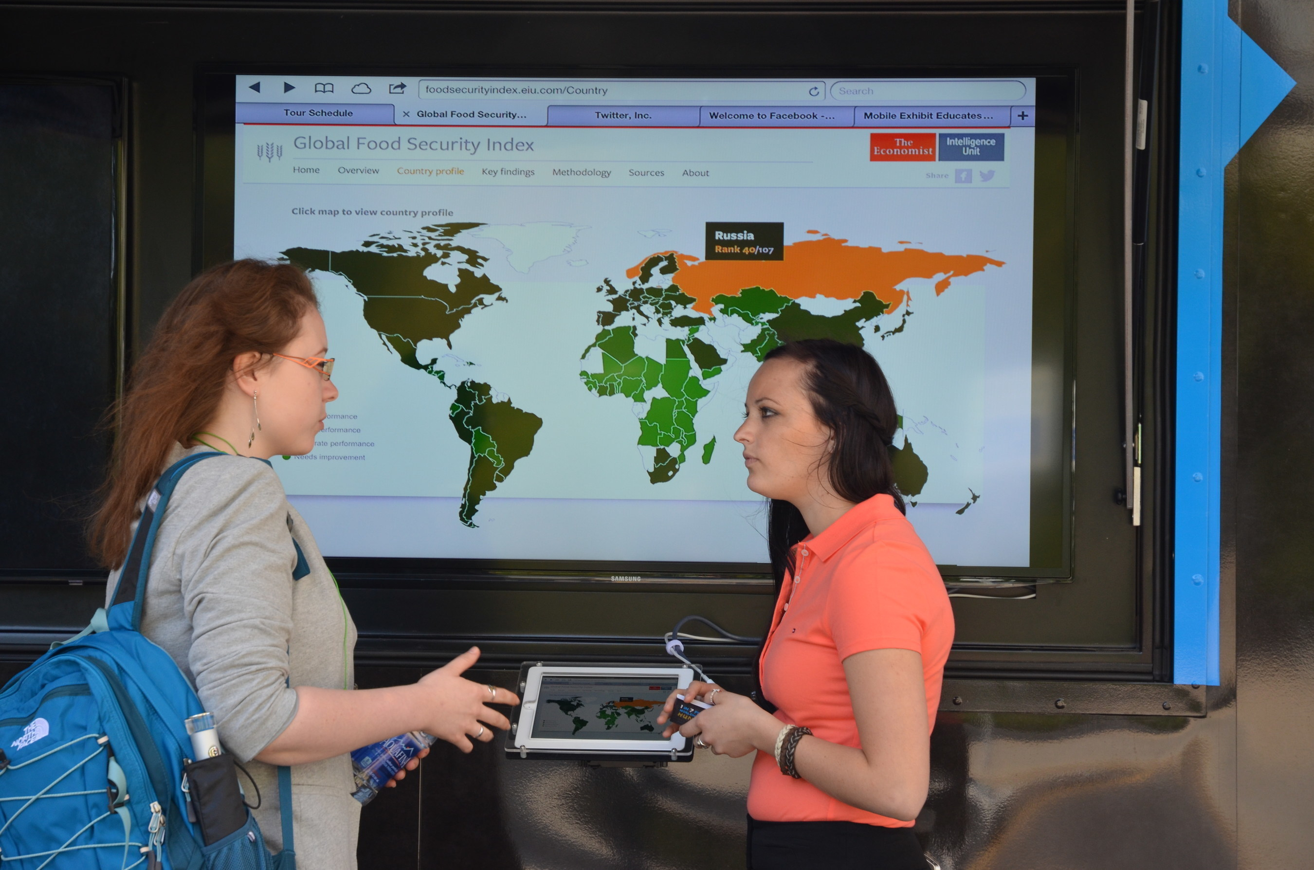 HungerU encourages visitors to learn through interactive displays like the Global Food Security Index.