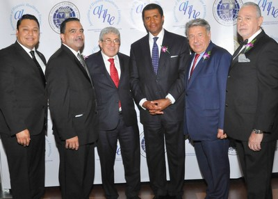 (Pictured from L to R) Pastor Derek Garcia, New York State Chaplain Task Force; Luis Vazquez, Chairman of the Board, National Hispanic Chamber of Commerce on Health; Stanley M. Bergman, Chairman of the Board & Chief Executive Officer, Henry Schein, Inc.; Event Keynote Speaker, Philip O. Ozuah, M.D., Ph.D.; Steve Kess, Vice President, Global Professional Relations, Henry Schein, Inc.; George Zeppenfeldt-Cestero, National President, Association of Hispanic Healthcare Executives and National Hispanic ...