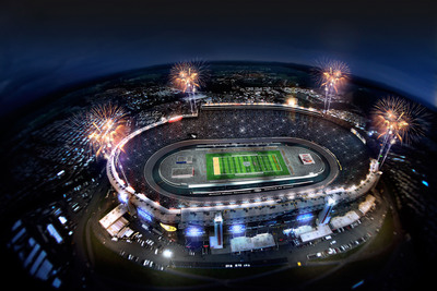 "A proposed rendering of Bristol Motor Speedway set-up for the ""Battle at Bristol"" college football game between Virginia Tech and Tennessee on September 10, 2013.   (PRNewsFoto/Bristol Motor Speedway)"