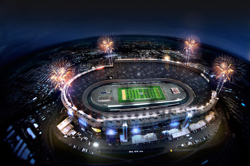 "A proposed rendering of Bristol Motor Speedway set-up for the ""Battle at Bristol"" college football game  ..."