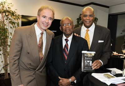 Jerry Flannery, executive vice president and general counsel of Hyundai Motor America, Fred Gray, legendary civil rights attorney, and Rickey Ivie, senior partner of Ivie, McNeill & Wyatt, pose for a photo during a special reception to honor Fred Gray.