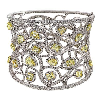 AVAKIAN cuff bracelet set with fancy yellow diamonds and white diamonds