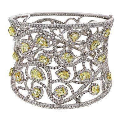AVAKIAN cuff bracelet set with fancy yellow diamonds and white diamonds