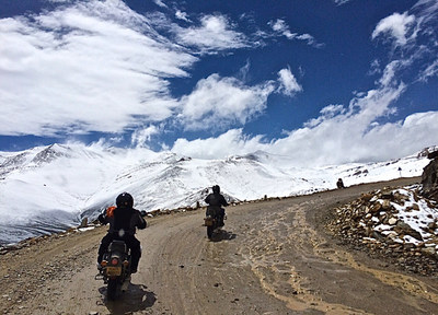 On the road with Extreme Bike Tours - Mighty Himalayan tour - over Tanglang La - one of world's highest road passes - pic by Mary Williams