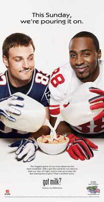 As the New England Patriots and New York Giants gear up for this weekend's Super Bowl, NFL stars Wes Welker and Hakeem Nicks are battling off the field for a Milk Mustache championship. The duo understands the biggest game of their lives deserves the best breakfast, so they start every day with milk to help fuel and nourish their bodies, whether it's Super Bowl time or anytime. The Giants and Patriots wide receivers will be featured in the 16th annual Milk Mustache Super Bowl ad that will run in USA Today on Friday, February 3.  (PRNewsFoto/MilkPEP)