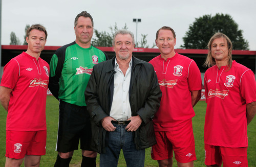 Budweiser brings soccer legends (L-R) Graeme Le Saux, David Seaman, former England Manager Terry Venables, Ray Parlour, and Claudio Caniggia back to the pitch to join Wembley FC in its quest for the FA Cup.  (PRNewsFoto/Anheuser-Busch InBev)