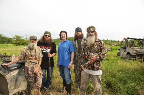 Artist Michael Hunt and Duck Dynasty stars Si, Willie, Jase and Phil Robertson.  (PRNewsFoto/Hunt Studio)