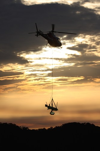 SHOTOVER Hydra suspended via long line stand during the shooting of Warner Bros.' Tarzan in Gabon, Africa